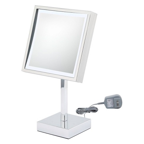 Square Single-Sided LED Lighted Free Standing Magnified Makeup Bathroom Mirror - image 1 of 1