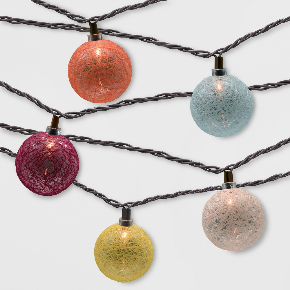 Image of 10ct Incandescent Mini Outdoor Colored String Orb String Lights - Opalhouse