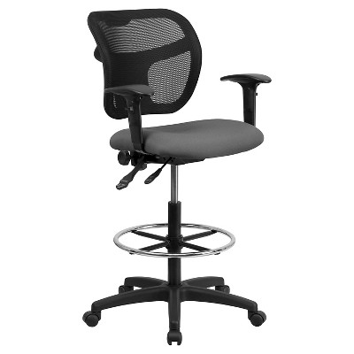 Mid Back Mesh Drafting Chair With Gray Fabric Seat And Height Adjustable  Arms   Flash Furniture