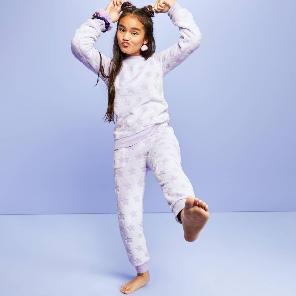Image of Girls' Embossed Plush Fleece Pajama Pants - More Than Magic Violet L, Girl's, Size: Large, Purple