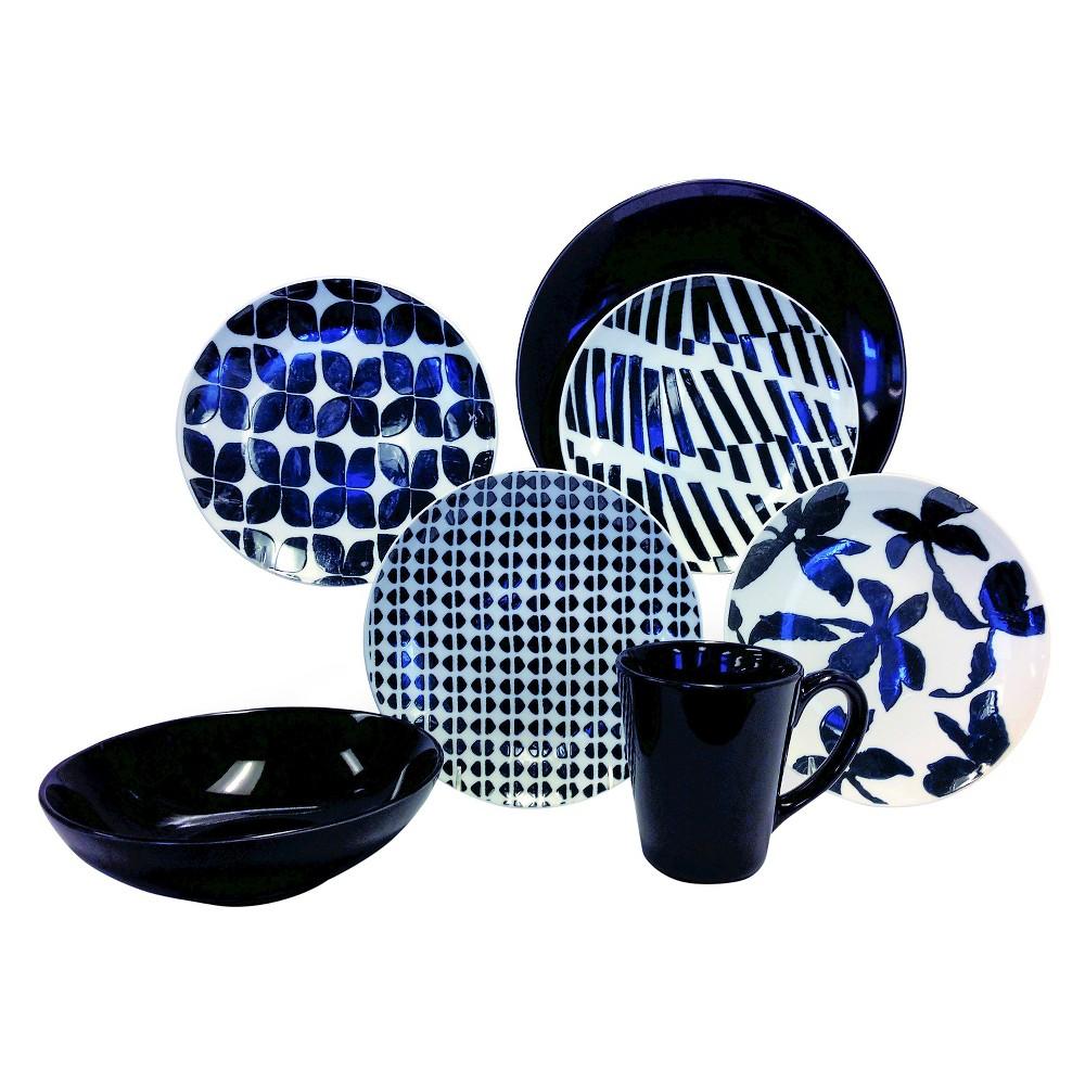 Baum Bros. 16pc Dinnerware Set Black & White, Black/White