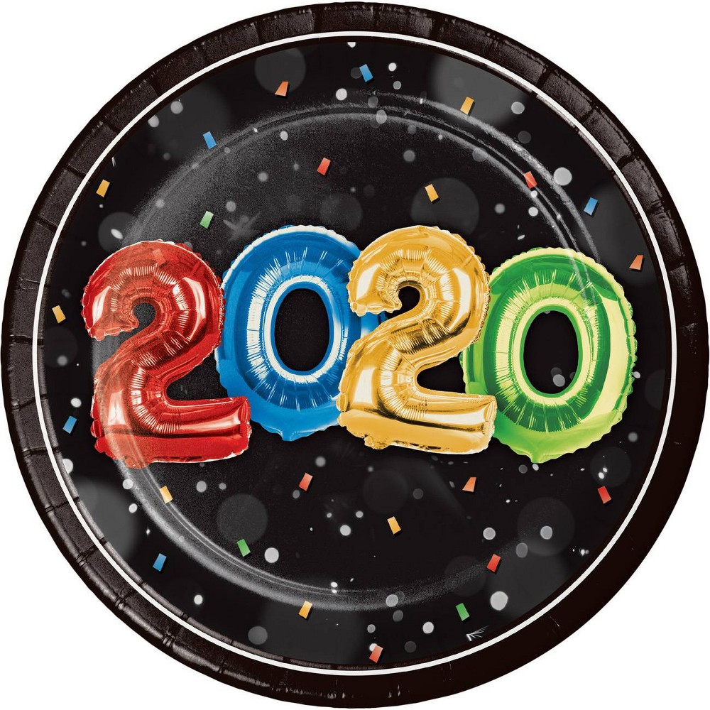 """Image of """"24ct """"""""2020"""""""" New Year Balloons Dessert Plates"""""""