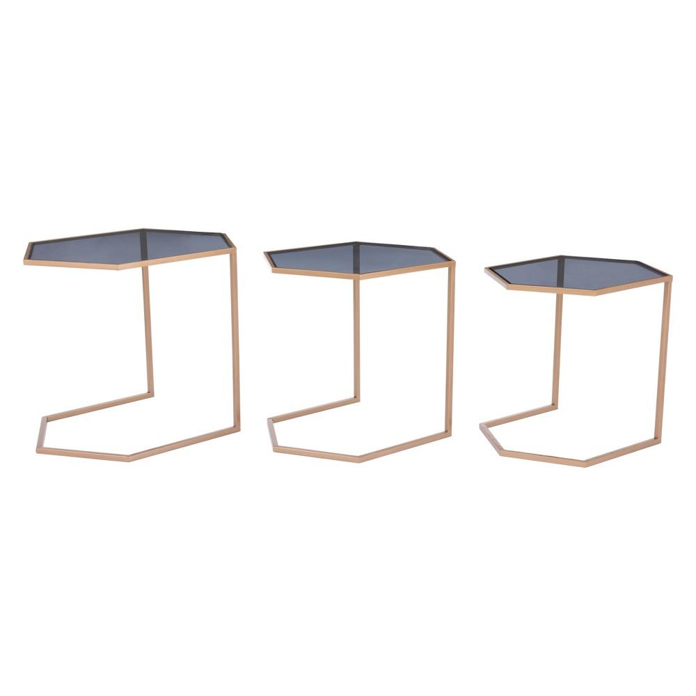 Modern Nesting Tables Set of 3 Black/Gold - ZM Home