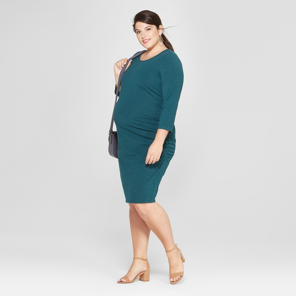 Maternity Plus Size 3/4 Sleeve Shirred T-Shirt Dress - Isabel Maternity by Ingrid & Isabel Dark Green Heather 1X, Women's, Size: 1XL was $26.98 now $8.09 (70.0% off)