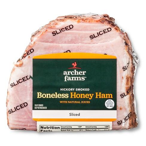 Hickory Smoked Boneless Honey Ham Sliced - 1.8-3.3lbs - priced per lb - Archer Farms™ - image 1 of 3