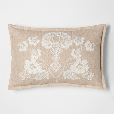 Beige Floral Lumbar Throw Pillow - Threshold™