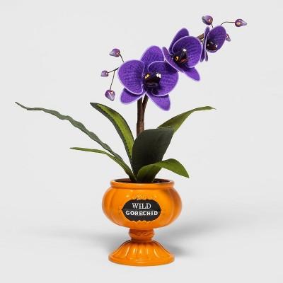 Ghoulish Garden Wild Gorechid Faux Halloween Plant Purple with Medium Pumpkin Planter - Hyde & EEK! Boutique™