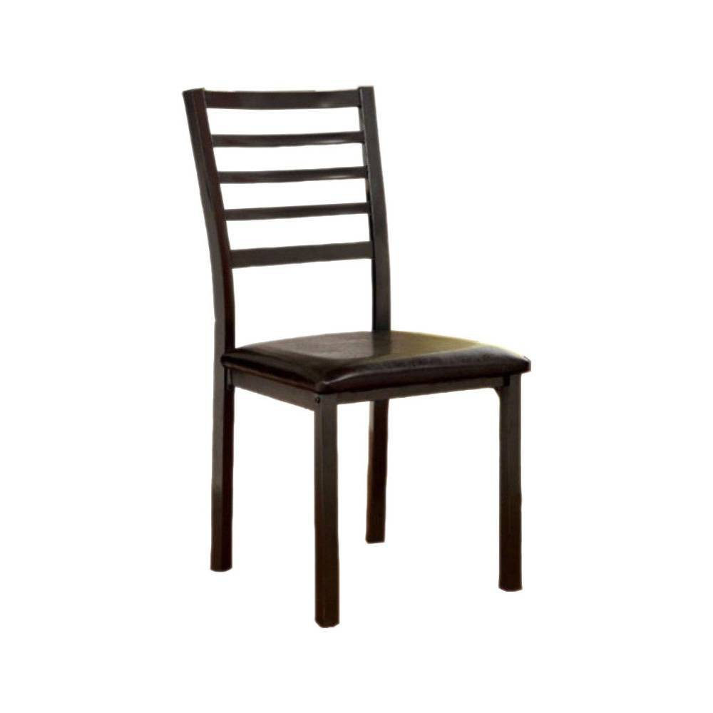 Promos Set of 2 Padded Leatherette Transitional Side Chairs Black - Benzara