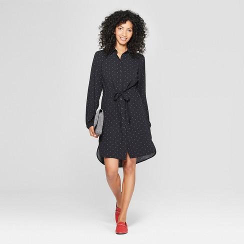 Women's Polka Dot Long Sleeve Shirtdress - A New Day™ Black - image 1 of 3