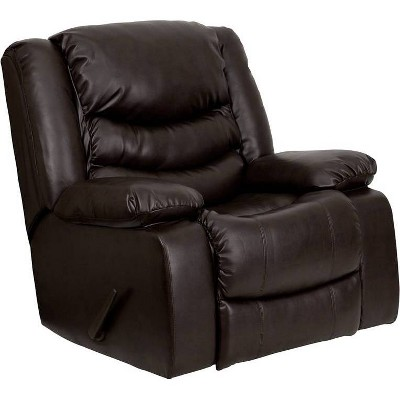 Plush Leather Lever Rocker Recliner with Padded Arms Brown - Riverstone Furniture Collection