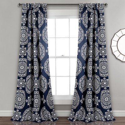 Karmen Medallion Room Darkening Window Curtain Panels Navy Set 52 X84  - Lush Decor