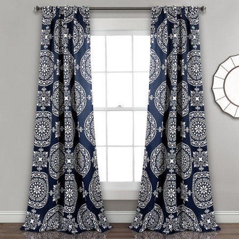 "Set of 2 52""x84"" Karmen Medallion Room Darkening Window Curtain Panels Navy - Lush Dcor - image 1 of 4"