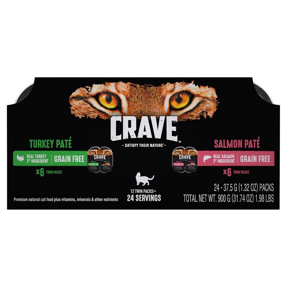 Crave Grain Free Multipack High Protein Turkey & Salmon Paté Wet Cat Food Trays - 12pk