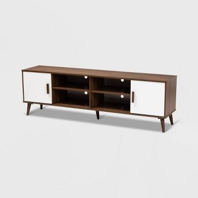 75'' Quinn 2 Door Wood Tv Stand Walnut/White - Baxton Studio