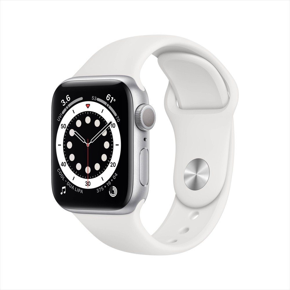 Apple Watch Series 6 GPS, 40mm Silver Aluminum Case with White Sport Band