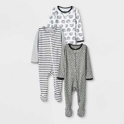 Baby 3pk Zip-Up Sleep N' Play - Cloud Island™ Black 0-3M