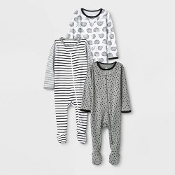Baby 3pk Zip-Up Sleep N' Play - Cloud Island™ Black