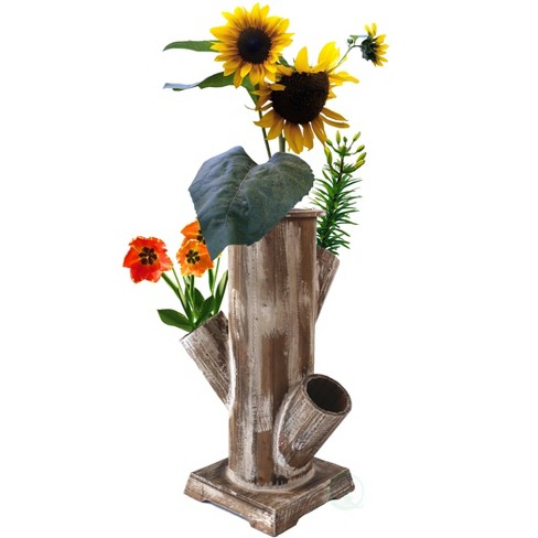 Gardenised Tree Stump Style Garden Tower Vertical Flower Planter with 4 Planting Slots - image 1 of 4