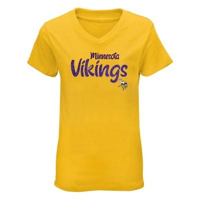 NFL Minnesota Vikings Girls' Short Sleeve V-Neck Core T-Shirt