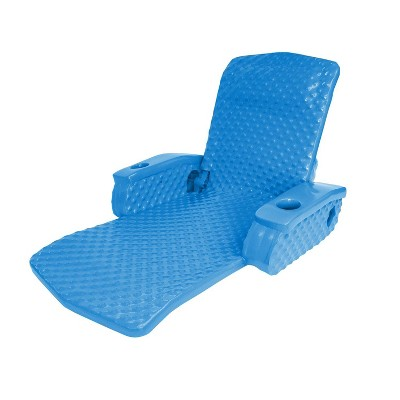TRC Recreation Super Soft Portable Floating Swimming Pool Water Lounger Comfortable Adjustable Recliner Chair with 2 Armrest Cup Holders, Bahama Blue