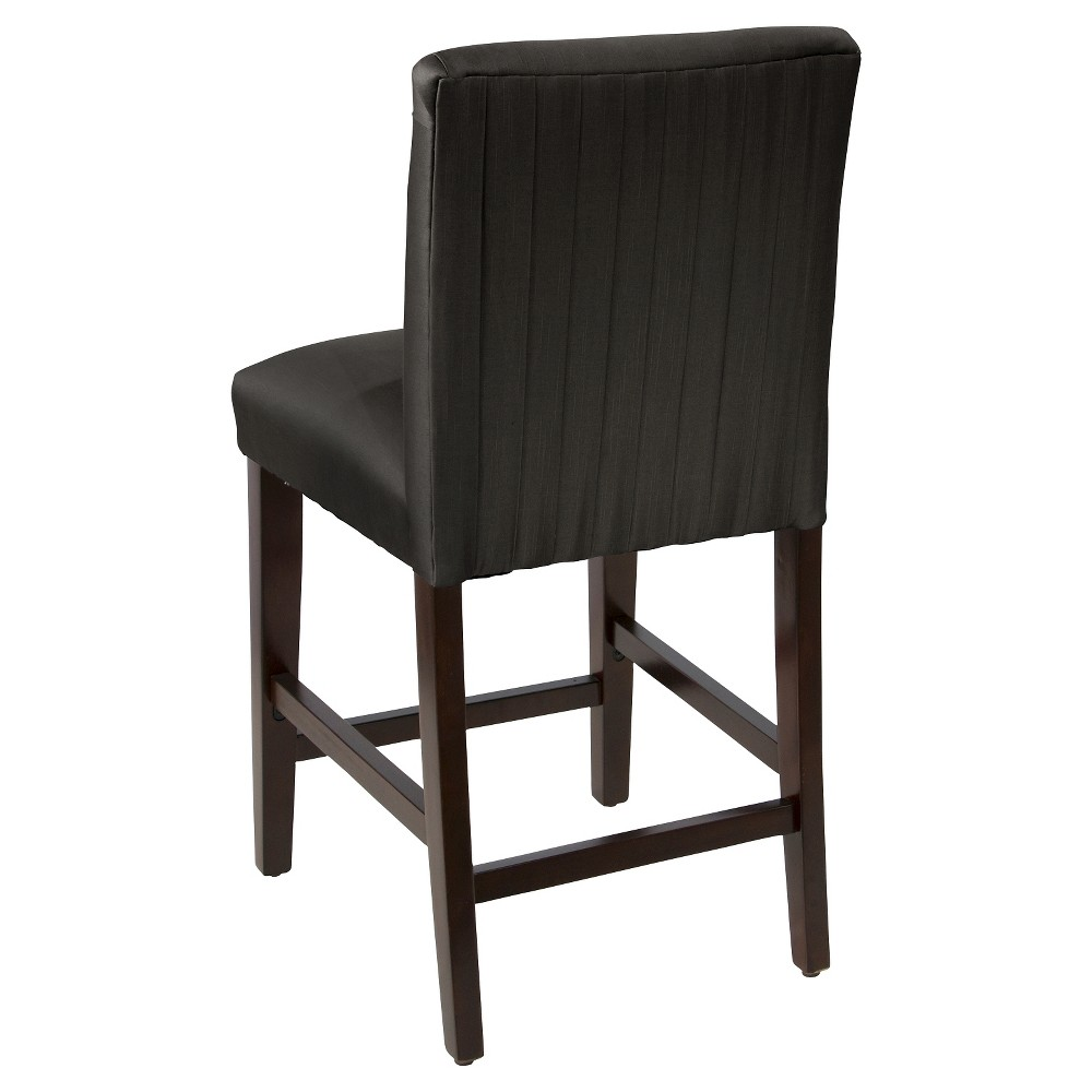 Luisa Pleated Counter Stool Black Faux Silk - Cloth & Co.