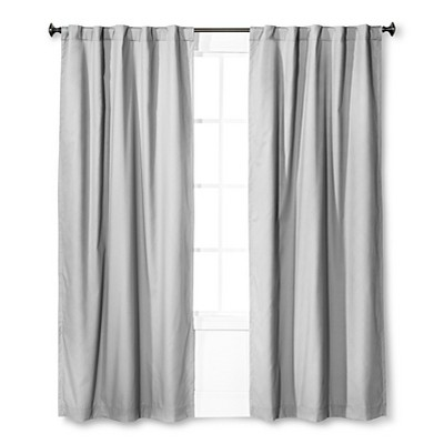 Twill Blackout Curtain Panel Gray (42 x84 )- Pillowfort™