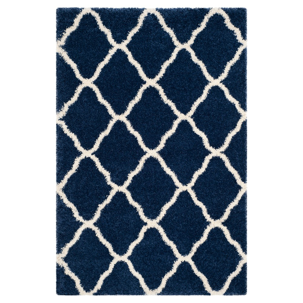 Hudson Shag Rug - Navy/Ivory (Blue/Ivory) - (5'1