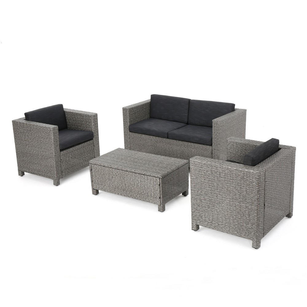 Puerta 4pc Wicker Chat Set & Cover -Beige/Mixed Black/Dark Gray - Christopher Knight Home