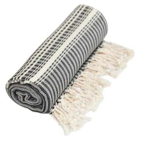 Luxe Herringbone Pestemal Beach Towel Black - image 1 of 4