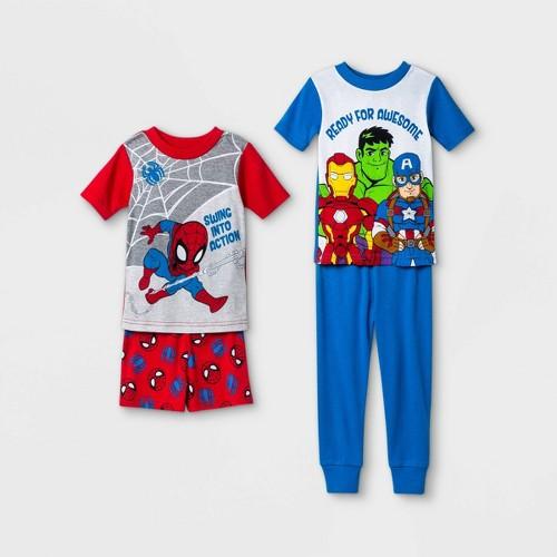 Toddler Boys 4pc Marvel Snug Fit Pajama Set Red 3T