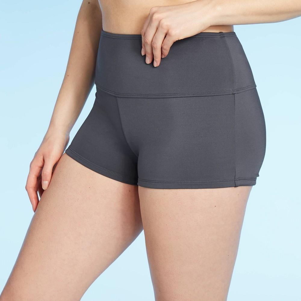 Women 39 S High Waist High Coverage Swim Shorts Kona Sol 8482 Gray S