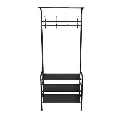 Mind Reader Coat Rack and 3-Tier Shoe Shelf, 8 Hooks, Black