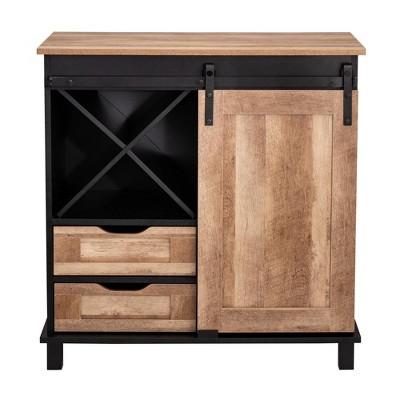 Modern Industrial Wine Cabinet with Sliding Door Brown - Glitzhome