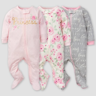Gerber Baby Girls' 3pk Floral Sleep N' Play - Pink/Off-White/Gray Newborn