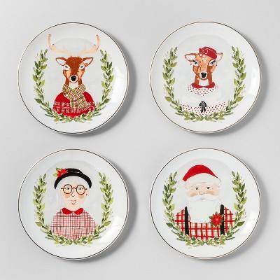 6.5  4pk Stoneware Holiday Icons Appetizer Plates White - Threshold™