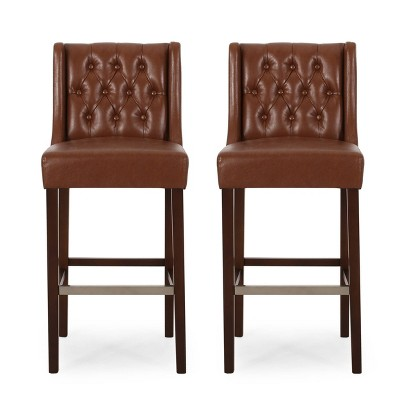 Set of 2 Bayliss Contemporary Wingback Barstools - Christopher Knight Home