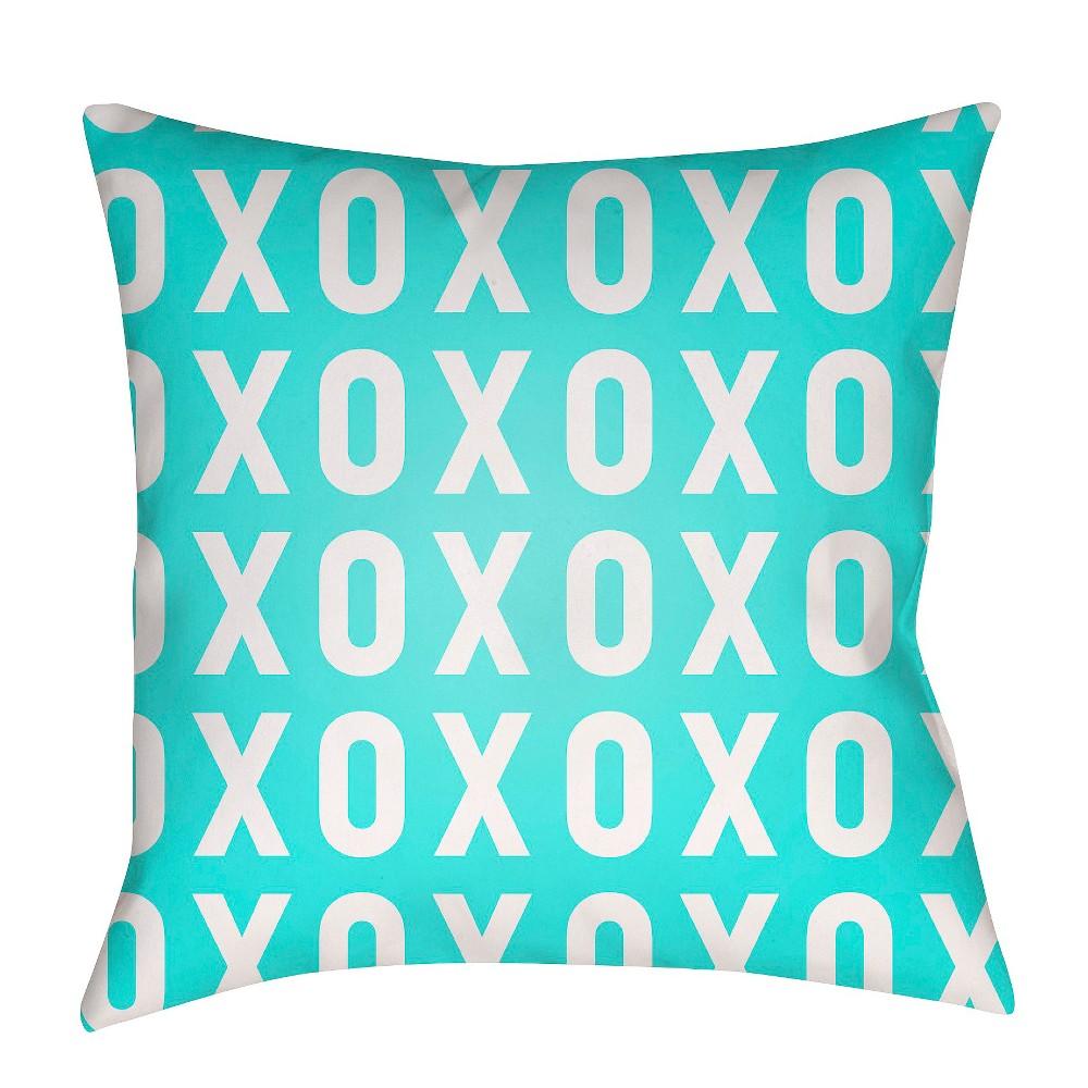 Teal (Blue) XO Print Throw Pillow 20