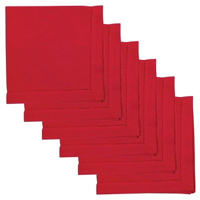 Chilli Red Hemstitch 100% Cotton Napkins (Set Of 6)