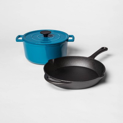Pre-Seasoned Cast Iron Skillet and Enamel 3qt Dutch Oven Set Teal - Threshold™