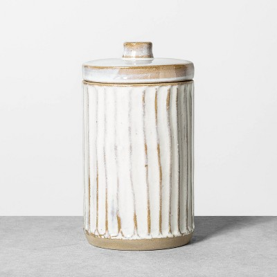 Large Embossed Stoneware Reactive Glaze Bath Canister Sour Cream - Hearth & Hand™ with Magnolia