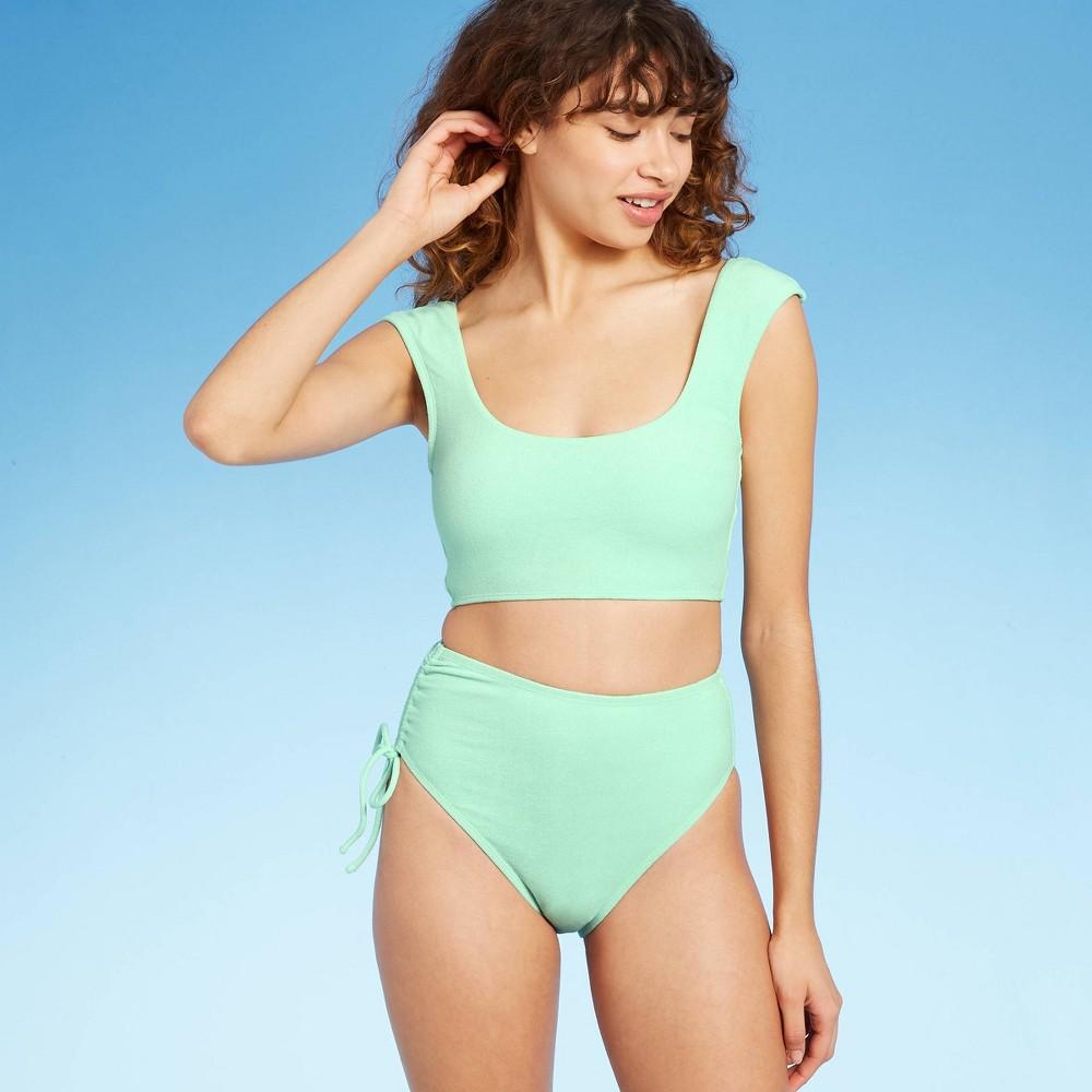 Women 39 S Cap Sleeve Crop Bikini Top Sea Angel Green Xs
