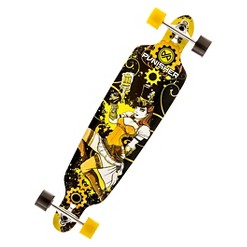 """Punisher Skateboards Steampunk 40"""" Longboard Skateboard, Adult Unisex, Yellow"""
