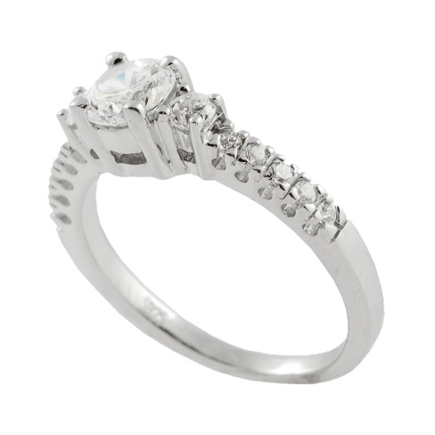 Silver Round Solitaire Engagement Ring - image 1 of 2