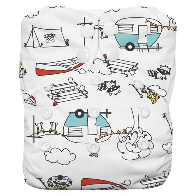 Thirsties All-in-One Snap Diaper, One Size - Happy Camper