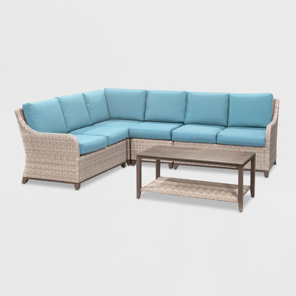Hampton 5pc Patio Seating Set - Spa Blue - Leisure Made