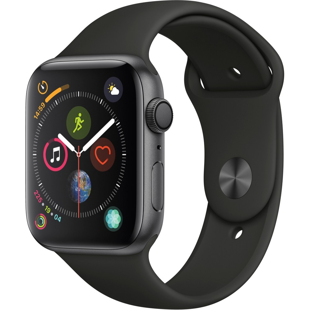 Apple Watch Series 4 GPS 44mm Space Gray Aluminum Case with Sport Band - Black, Black Sport Band