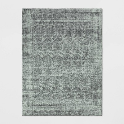 9'X12' Distressed Medallion Area Rug Silver - Threshold™