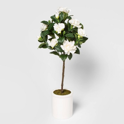"28"" x 10"" Artificial Blooming Arrangement in Ceramic Pot White - Threshold™"
