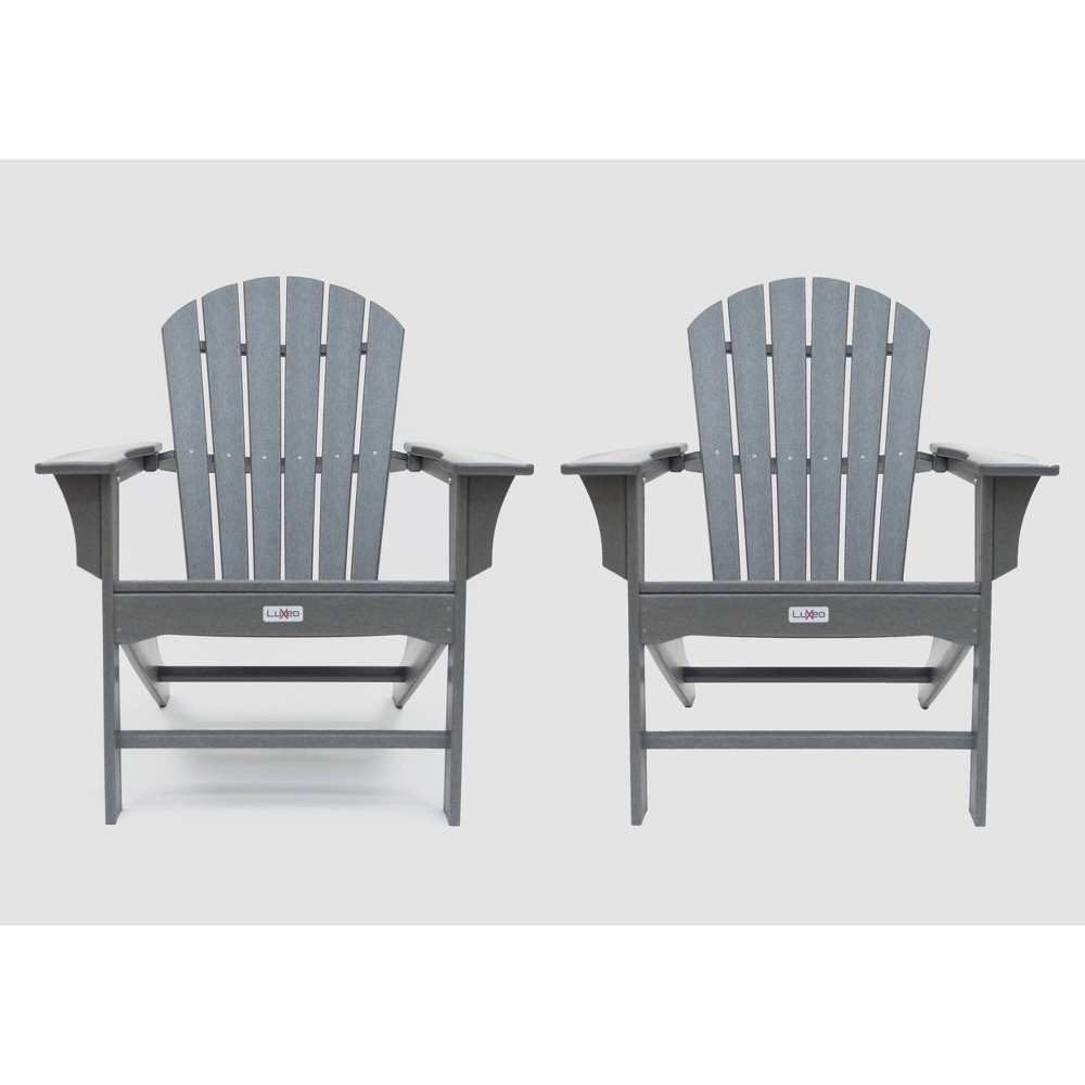 Image of Hampton 2pk Outdoor Patio Adirondack Chair - Gray - LuXeo