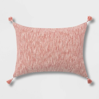 Spacedye Chambray Lumbar Throw Pillow with Corner Tassels Washed Red - Threshold™
